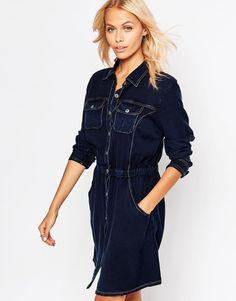 Shop Brave Soul Long Sleeve Denim Shirt Dress at ASOS. Long Denim Shirt Dress, Blue Denim Dress, Button Down Shirt Dress, Jeans Dress, Dress Long, Dress Shirt, Tall Dresses, Blue Dresses, Denim Fashion