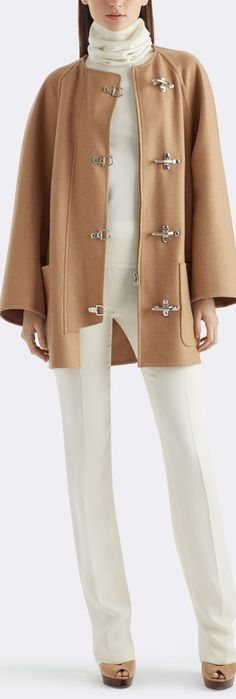 Fall 2015 Ralph Lauren Camel Jacket: The clean, minimalist lines of the camel-hair Bailey jacket enhance its elegant nonchalance, while metal closures give it a utility-inspired flair. Wear it over cream-hued separates for a chic look.