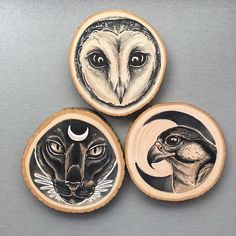 Artist Uses Wood Slices as Organic Canvas for Nature-Themed Portraits - My Modern Met