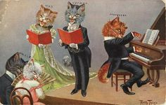 Tom cat plays piano to accompany a singing male/female duet, audience of two.