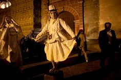 Living statues perform in front of a church as part of the Holy Week celebrations in Ayacucho, Peru)