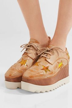 Stella McCartney - Faux Leather Platform Brogues - Gold - IT34.5