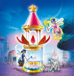 PLAYMOBIL Super 4 Musical Flower Tower with Twinkle Building Kit Discover the magic of the fairy world with a visit to the Musical Flower Tower with Twinkle. Play Mobile, Super 4, Unicorn And Fairies, Flower Tower, Thing 1, Kids Shows, Some Ideas, My Little Girl, Pretend Play