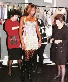 Naomi Campbell backstage for VERSACE 1993 Couture Runway Fitting