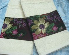 2 Custom Hand Towels DECORATED W/ NEW Ralph Lauren fabric BRITTANY FLORAL #HANDDECORATED