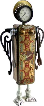 """Name: Charity  D.O.B.: 11/23/11  Height: 20""""  Principal Components: Fruitcake tin, pressure gauge, lamp part, swing arm curtain rods, wrenches, drawer pull parts, tartlet tins, hydraulic fittings, brooch.  Amy Flynn Designs."""