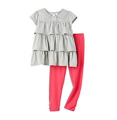 DKNY® Girls' 2T-6X Heather Grey Bow Neck Ruffle Tunic Set
