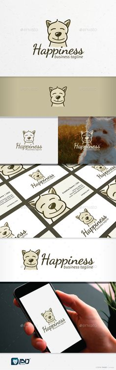 Happiness: Animal Logo Design Template by Logo Design Template, Brochure Template, Logo Templates, Flyer Template, Charity Branding, Self Branding, Dog Vector, Dog Logo, Font Names