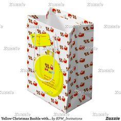 Yellow Christmas Bauble with Santa's & Sleigh Medium Gift Bag