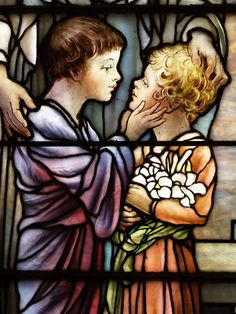 Description: Richmond, Virginia (VA): St Paul's Episcopal Church: The Kiss of Charity, detail (installed 1916, Tiffany Studios)