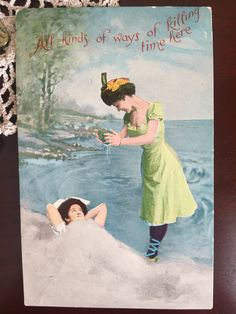 "Vintage 1900s Edwardian Era Risque Beach Side Beauties Unused Postcard - ""All kinds of ways of killing time here"""