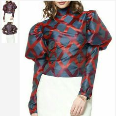 Posh Blouse Puffy sleeve blouse with button back Gracia Tops Blouses