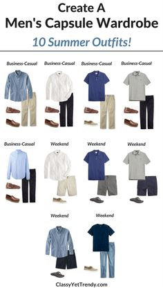Create a Men's capsule wardrobe for the Summer…Transform Your Closet! I'm sharing a few featured items in the capsule wardrobe and shows how you can mix and match those items to create several outfits! Features a white oxford shirt, chambray shirt, polo shirt, chinos, twill shorts, jeans, cargo shorts, khaki pants, boat shoes and loafers.