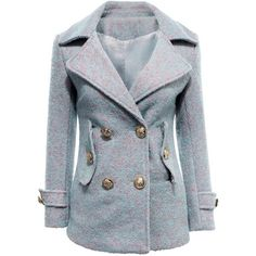 Yoins Double-breasted Longline Wool Coat-Blue  S/M/L ($45) ❤ liked on Polyvore featuring outerwear, coats, jackets, yoins, tops, blue, fur coats, blue double breasted coat, double breasted coat and longline coat