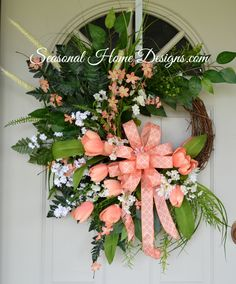 Coral Grapevine Wreath, Silk Flower Wreath, Spring Wreath, Summer Wreath, Front Door Wreath by SeasonalHomeDesigns on Etsy