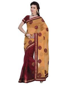 Sati Orange Maroon Coloured Chanderi Saree Chanderi Sarees on Shimply.com