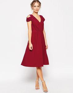 Image 4 ofASOS WEDDING Drape Cold Shoulder Midi Dress
