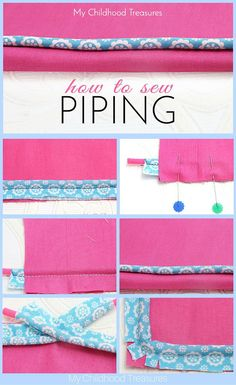 Sewing piping can add a professional touch to the edges of cushions, bags, quilts and even clothing. Learn how to sew piping step by step for beginners. Sewing Hacks, Sewing Tutorials, Sewing Crafts, Sewing Tips, Sewing Lessons, Diy Gifts Sewing, Gifts To Sew, Tutorial Sewing, Free Tutorials