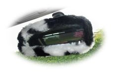 Black & white cow print faux fur rear view interior mirror cover White Cow, Black And White, Fuzzy Steering Wheel Cover, Sheepskin Car Seat Covers, Fluffy Cows, Decoration For Ganpati, Country Fashion, Cow Print, Rear View
