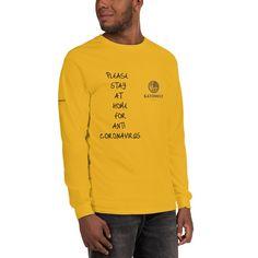 Eine Aktion gegen den Coronavirus, wir müssen alle zusammenhalten und Stärke zeigen. Verlasse dein Haus nur dann wenn notwendig!! Sweatshirts, Long Sleeve, Sleeves, Sweaters, Mens Tops, T Shirt, Collection, Too Busy, Action