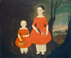 Sisters in Red   Hamblin, Sturtevant J. American, active 1837/1856 Sisters in Red c. 1840/1850 oil on canvas overall: 63.5 x 76.5 cm (25 x 30 1/8 in.) framed: 81.3 x 94.3 x 6.2 cm (32 x 37 1/8 x 2 7/16 in.) Gift of Edgar William and Bernice Chrysler Garbisch