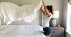 Bedding 101: How To Wash White Sheets Without Bleach   Hip2Save White Bed Sheets, White Bedding, Washing White Clothes, Cleaning White Sheets, Clean Bed, Clean Clean, Bleach Bath, Weekly Cleaning, Cleaning Hacks