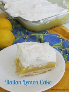Grandma's Italian Lemon Cake, No bake cake, made with cook style Jello Pudding and Lady Fingers.