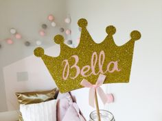 Crown cake topper. Custom cake topper. First birthday party. Birthday girl. Pink and gold. Present for a girl. Baby girl gift. Centrepiece. by InspiredbyAlma on Etsy