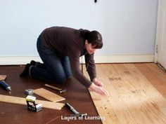 We installed real wood floors made from plywood in our living room, see what we did step by step (with pictures) plus a cost breakdown. Plywood Flooring Diy, Plank Flooring, Flooring Ideas, Laminate Flooring, Small Basement Remodel, Basement Remodeling, Basement Plans, Basement Storage, Remodeling Ideas