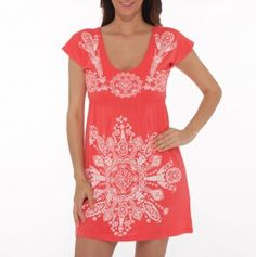 Empire Waist V-Neck Dress....needs to be longer but like the pattern and watermelon colour
