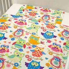 Baby sengetøj m. ugler(multi farvede)