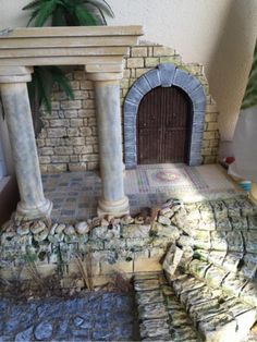 images (640×853) Architectural Columns, Diy Nativity, Mini Doll House, 3d Modelle, Miniature Houses, Fairy Houses, Abandoned Places, Dollhouse Miniatures, Tabletop