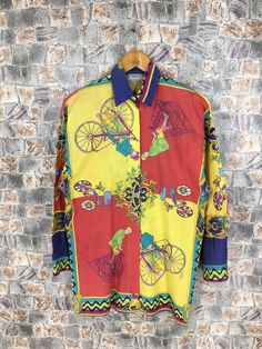 Excited to share the latest addition to my shop: Vintage Gianni Versace Buttondown Medium Versace Sport Royalty Baroque Medusa Pop Art Luxury Versace Psychedelic Shirt Size M Versace Silk Shirt, Versace Jacket, Versace Jeans Couture, Gianni Versace, Medusa, Psychedelic, Baroque, Pop Art, Royalty
