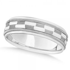 Allurez Carved Checkered Wedding Band Plain Metal 14k White Gold 7mm ($765) ❤ liked on Polyvore featuring jewelry, rings, metal wedding rings, white gold rings, carved ring, 14 karat white gold ring and 14 karat gold ring