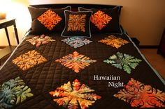Great Fall colors in this Hawaiian quilt! Hawaiian Night Homemade Quilts - Irenes Quilts and Homespuns