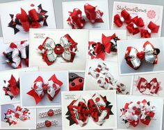 images of hair bows for little girls | SheSewsBows: Lady Bug Hair Bows