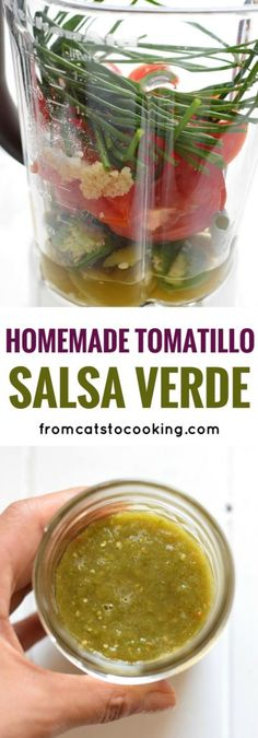 This Homemade Tomatillo Salsa Verde is one of my favorite recipes. EVER. It's so easy to make, packs a huge punch of tangy, zesty flavor and is so versatile, it can be used in countless dishes and recipes. It's also gluten free, paleo, vegetarian, dairy free and vegan!