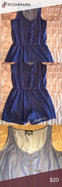 Denim romper Denim romper, shorts style.  Button up front.  Measure 26 inches from straps to crotch. Any questions, please comment below. Angie Jeans