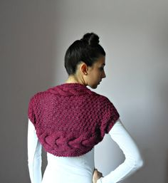 Handknit Cable Shrug Bolero - Cyclamen, Magenta, Pink - Handmade - Mohair Cashmere - Super Soft - Feminine   If you have an eye for stylish apparels, then tag your dressing with this cyclamen cable shrug. Featuring an intricate pattern, this shrug looks very attractive. Crafted from cashmere and mohair, this shrug offers style and comfort at the same time. Wear this shrug over any plain top and enhance the look of your attire.
