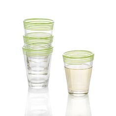 Color Swirl Glasses Lime Green, Set of 4 Featuring a modest design with a swirl of personality, these bright, charming little juice glasses are versatile enough Color Swirl, Green Table, Shot Glass, Lime, Glasses, Tableware, Design, Decor, Green Desk