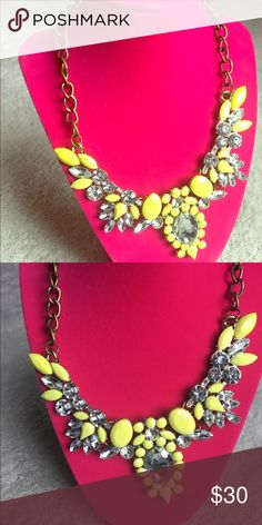 Attention Grabber Statement Necklace Bright stones will grab attention while the crystals add some flash! This piece can make even the most simple outfits ready for a night out! Jewelry Necklaces