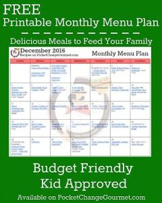 FREE MONTHLY MENU PLAN - Delicious meals to feed your family in the Printable December Monthly Menu Plan! Budget friendly meal plan - Kid approved! Print out your FREE copy today!