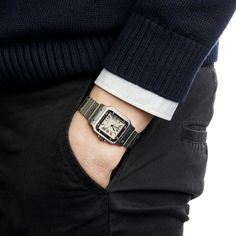 This is a pre-owned Cartier Santos Galbee Men's case size in Stainless Steel with White Roman dial - Shop now at Xupes. Cartier Belt, Cartier Watches, Used Watches, Watches For Men, Second Hand Watches, Watch Belt, Cartier Santos, Men Style Tips, Beautiful Watches