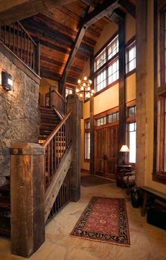 Great site for stairs - rustic modern - Staircase Rustic Design, Pictures,  Remodel, Decor and Ideas I WISH this could be my house one day.
