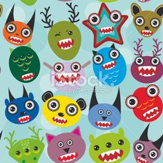 Cute cartoon muzzle Monsters seamless pattern on blue background. Vector Royalty Free Stock Vector Art Illustration