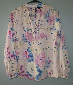 New Directions petite tan multi color floral long sleeve shirt womens size PM #NewDirections #Blouse #Casual