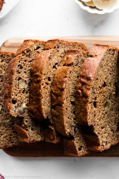 This whole wheat banana bread is made without oil and butter. Rather, applesauce is used to give the bread moisture. Its flavor and texture is outstanding! Whole Wheat Banana Bread Banana Bread Ingredients, Healthy Banana Bread, Best Banana Bread, Quick Bread Recipes, Sweet Recipes, Crockpot Recipes, Cooking Recipes, Whole Wheat Banana Bread, Banana Bread Without Butter