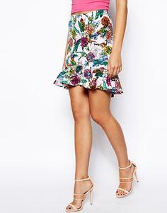 Imagen 4 de Falda de neopreno con sobrefalda en el bajo y estampado floral de ASOS