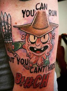 Best 40 Rick and Morty Fan Tattoos Fan Tattoo, Tattoo You, Ricks Tattoo, Daniel Tattoo, Rick And Morty Tattoo, Cartoon Tattoos, Music Station, Body Art, Piercings