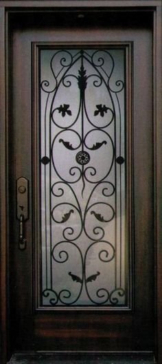 Beautiful Front Door With Faux Wrought Iron Door Insert